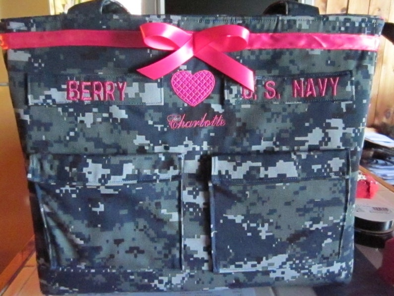 lining and ribbon custom bag as you like it. Navy wife Diaper Bag custom embroidery and personalized colors for embroidery