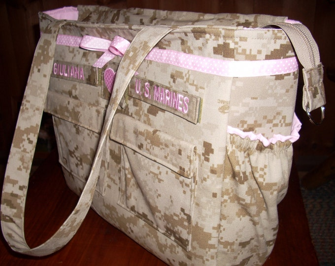Best military diaper bag trending Daddy diaper bag desert marine diaper bag marine  bag personalized made to order