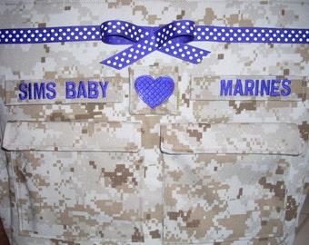 Desert Marine camo diaper bag free tags on bag custom embroidery all military fabrics available your choice colors