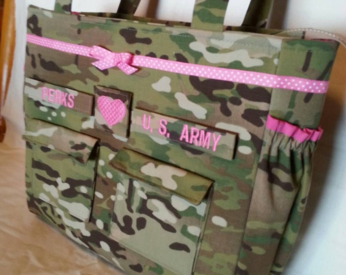 Multicam diaper bag free tags camo travel bag gift for baby gift for her gift for him personalized  custom embroidery choice of colors trims
