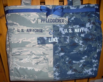 2  military fabric bag Each side custom built with different military fabric. of your choice  For the 2 military branch family.