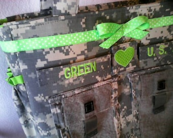 Camo Army diaper bag ACU Army bag military daddy diaper bag Army made to order custom diaper bag pink saphire torquoise green purple  mint