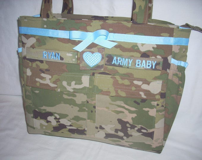 Army wife Army Mom tote diaper bags personalized customized Army Multicam Navy Air Force Marines your choice of colors, fabrics, embroider