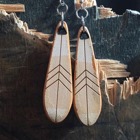 Feather reclaimed skateboard earrings
