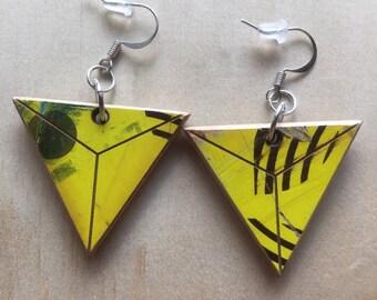 Triangle reclaimed skateboard earrings