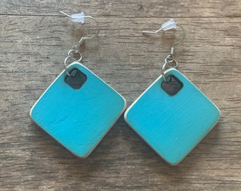 Square reclaimed skateboard earrings