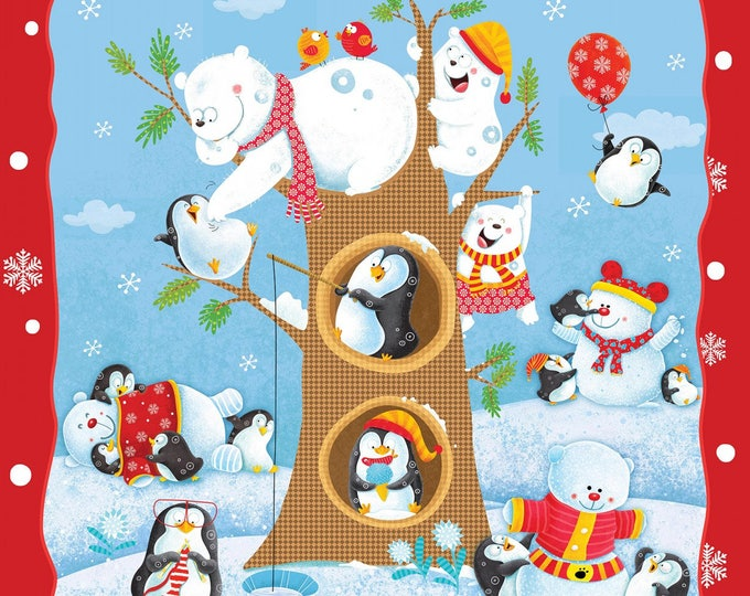 Christmas Holiday Fabric, Penguin Parade Cotton Panel by Henry Glass 36 x 45 inches