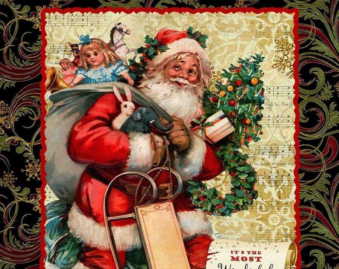 VICTORIAN CHRISTMAS SANTA, Cotton Holiday Panel 36 x 44 Inches