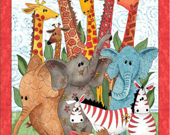WILD THINGS PANEL, Cotton Children's Quilt Panel 24 x 44 inches by Desiree's Designs for Quilting Treasures