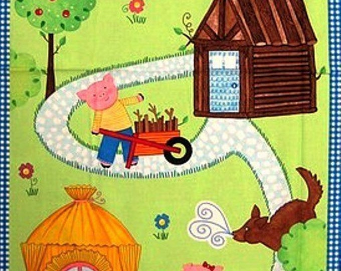 THREE LITTLE PIGS, Children's Cotton Fabric Panel 23.5 x 43 Inches by Timeless Treasures