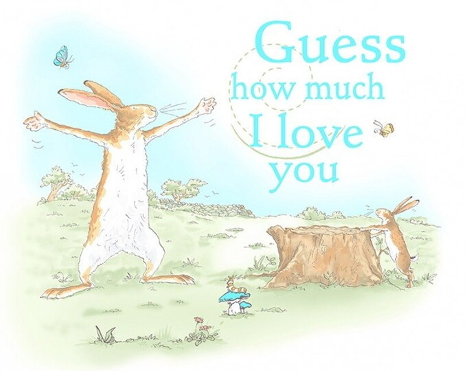 GUESS HOW MUCH I Love You.  Children's Cotton Panel 24 x 44 Inches by Clothworks