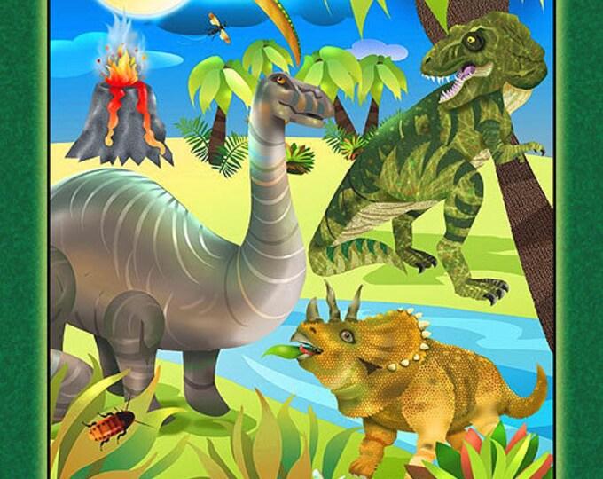 DINOSAUR FABRIC, Children's Fabric Panel, Dino Might Dinosaur Cotton Panel by Giordano 24 x 44 inches
