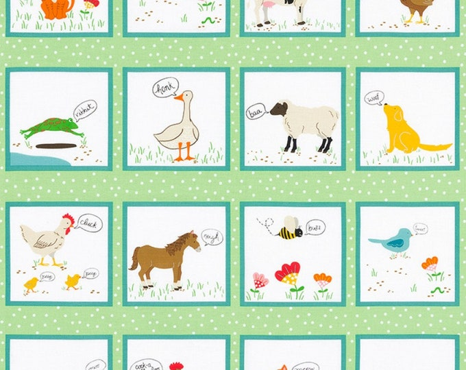 ANIMAL COTTON PANEL, What Do The Animals Say Children's Cotton Panel 24 x 44 inches