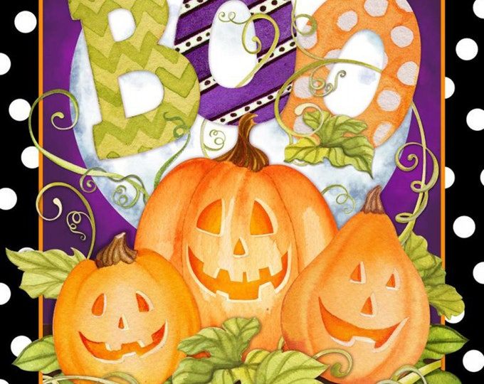 HAPPY HAUNTING PUMPKINS, Cotton Fabric Panel by Springs Creative 43x 44 Inches