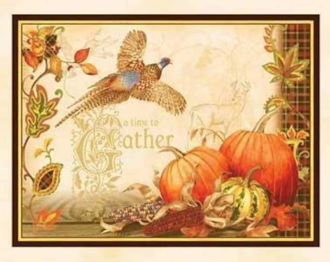 AUTUMN SONG PANEL, 100 % Cotton Autumn Panel by Sandy Lynam Clough 23 x 44 inch for Red Rooster
