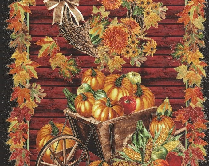 HARVEST FALL PANEL, Cotton 24 x 44 Inch Thanksgiving Holiday Panel by Timeless Treasures