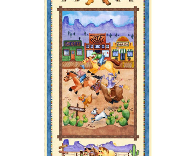 HORSIN' AROUND WESTERN, Children's Cotton Panel by Quilting Treasures 24 x 44 Inches