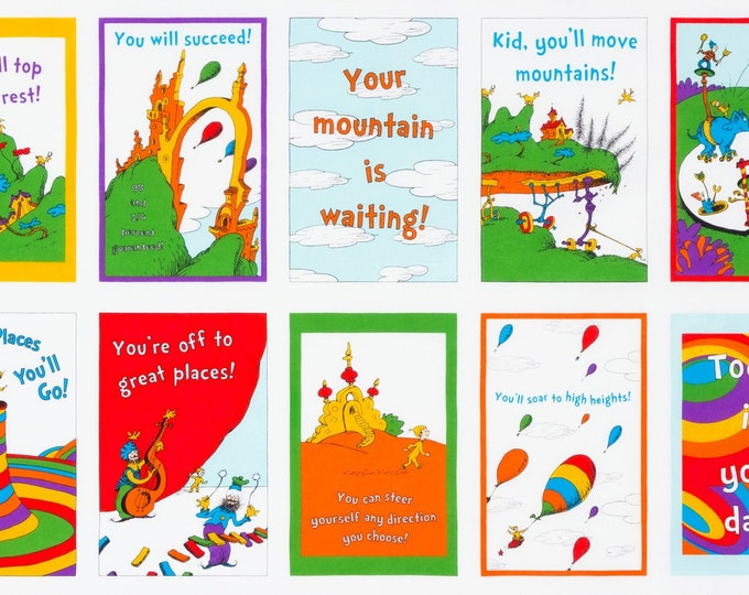 Dr SEUSS PANEL, Oh The Places You Will Go Cloth Book by Robert Kaufman 24 x 44 Inches Cotton