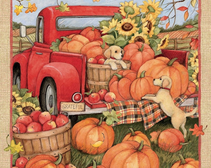 HARVEST RED TRUCK, Cotton Panel 36 x 44 Inches