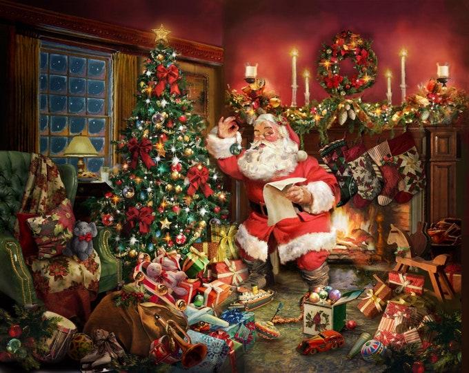 CHRISTMAS COTTON PANEL, Ol' Saint Nick Digital Holiday Panel by Hoffman Prints