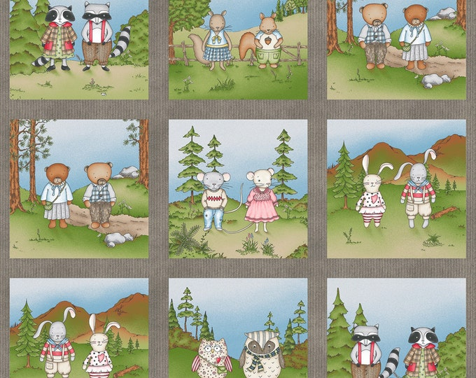 FABRIC PANEL, Forest Friends Children's Cotton Fabric by Kris Lammers for Maywood Studio