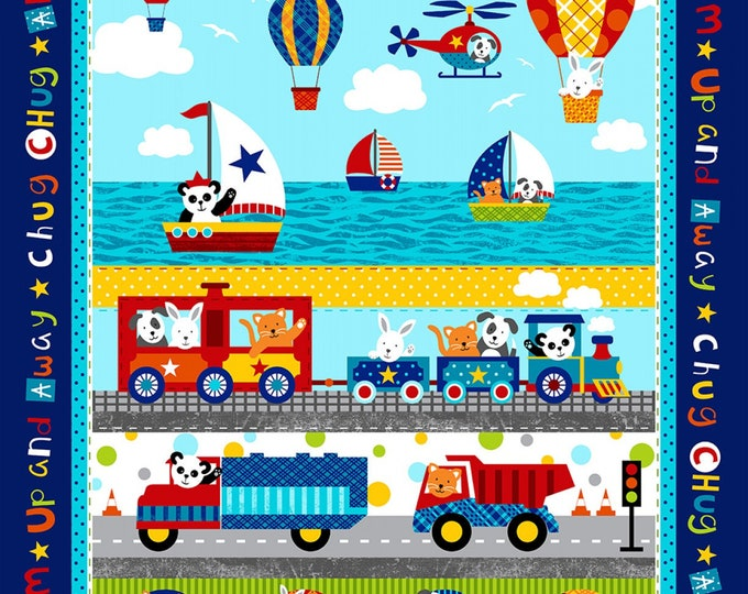 COTTON FABRIC PANEL, Off We Go Children's Cotton Panel 36 x 44 Inches by Laura Stone for Studio E