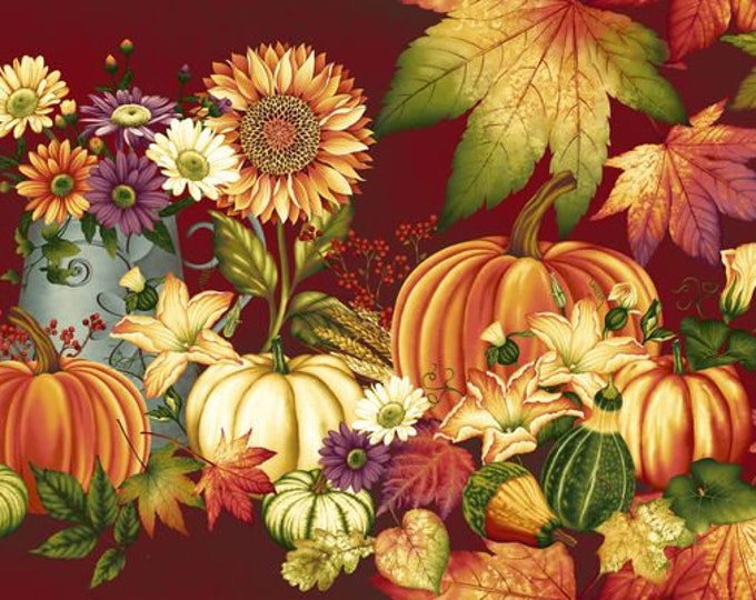 AUTUMN CRANBERRY PANEL, Thanksgiving Holiday Panel 24 x 44 Inches by Henry Glass