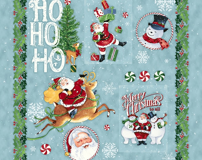 Christmas Fabric, Retro Santa Cotton Cloth Panel 27 x 45 inches by Cloth Works
