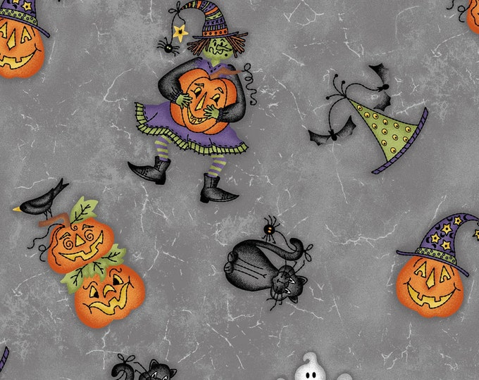 HALLOWEENIES, Gray Tossed Cotton Halloween Fabric by Maywood Studios 44 Inches Wide