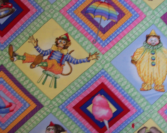 CIRCUS MENAGERIE COTTON,  Fabric by J Wecker Frisch Out Of Print 44 Inches Wide