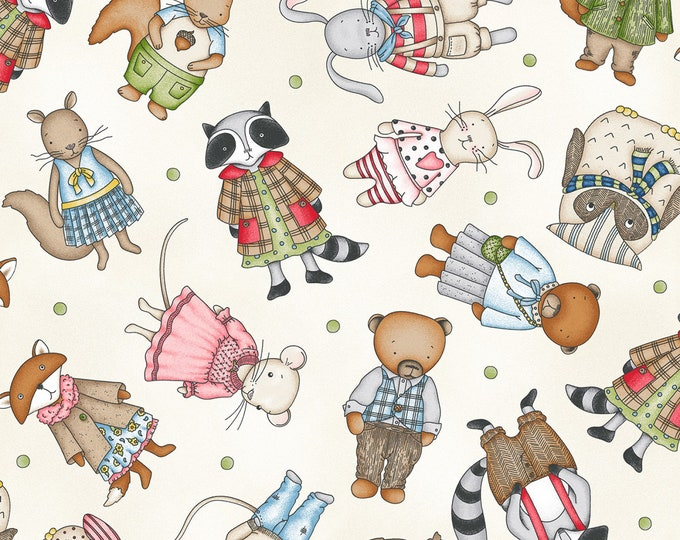 FOREST FRIENDS CHILDREN'S, Cotton Fabric by Maywood Studios 44 Inches Wide