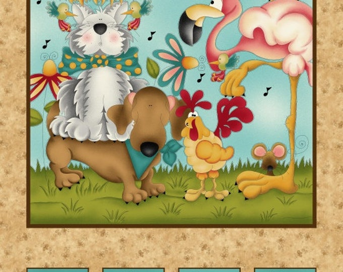 NO FOWL  PLAY, Cotton Cloth Panel by Leanne Anderson 24 x 44 Inches