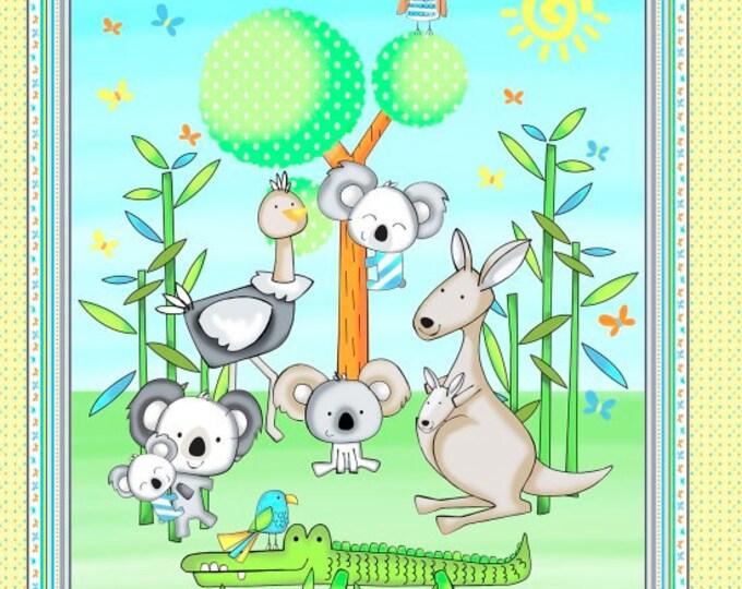 CHILDREN'S FABRIC PANEL, Koala Party Koala Bear Fabric Panel, Crocodiles and Parrots by Studio E 24 x 44