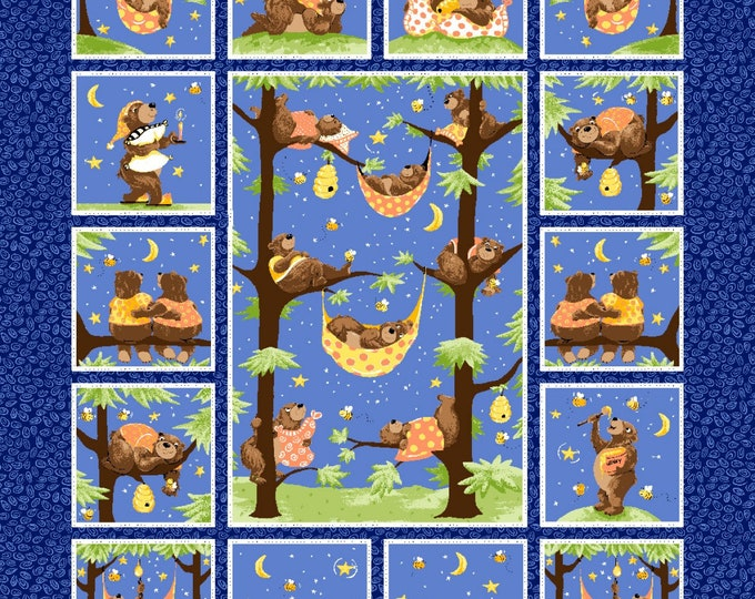 BARON THE BEAR, Children's Cotton Fabric Panel by Susybee 36 x 43 Inches