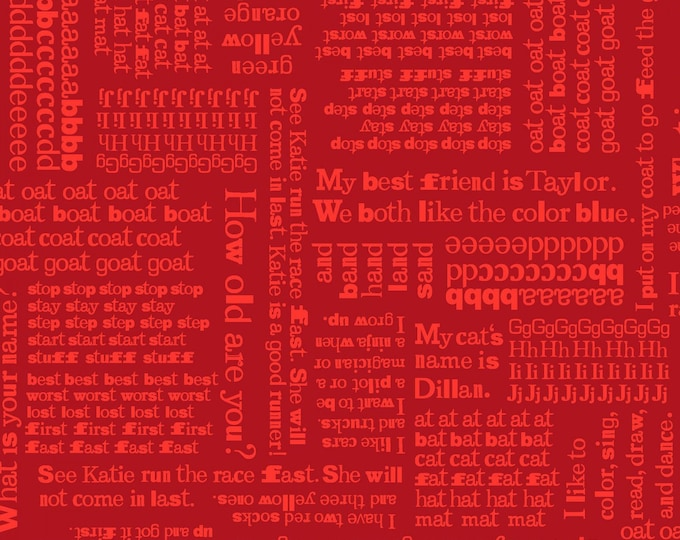 ABC Fabric Fun With ABC's Children's Fabric Red Tone on Tone Words by from Studio E 44 inches wide