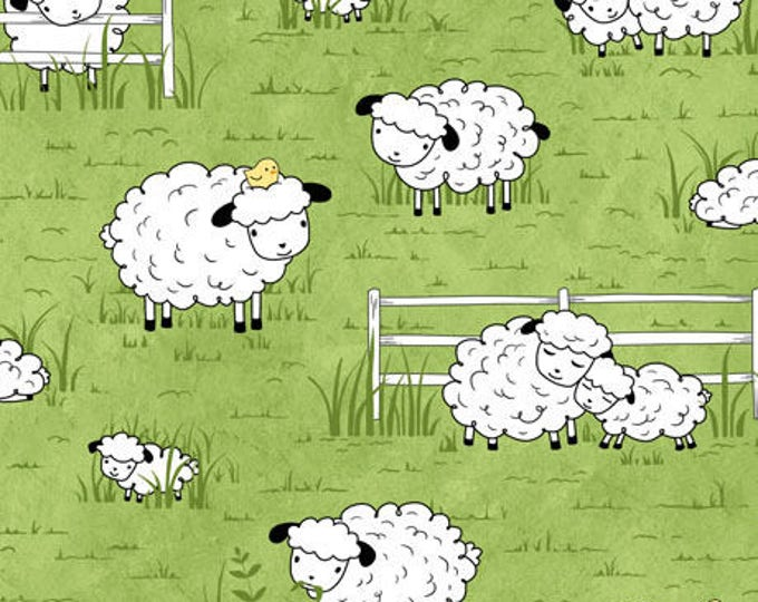Children's Fabric, Sheeps and Peeps Multi Cotton Fabric Green Background by Quilting Treasures