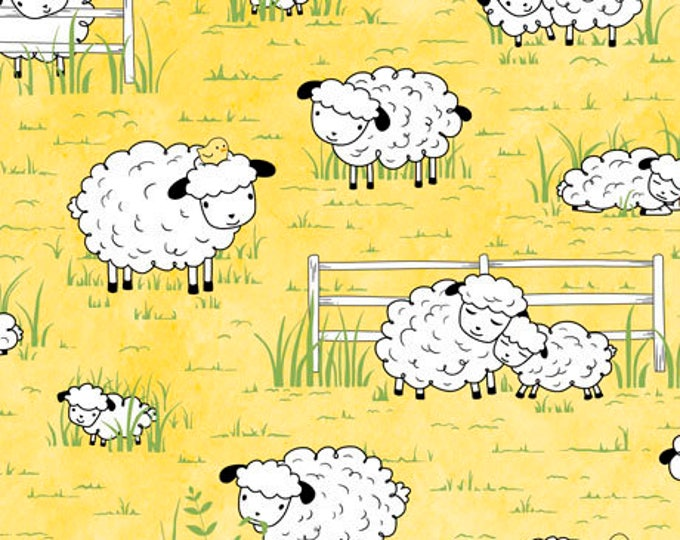 Children's Fabric, Sheeps and Peeps Cotton Fabric Yellow/White Tossed Sheep