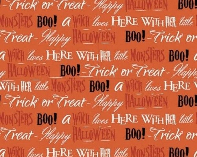 BOO HALLOWEEN WORDS, Halloween cotton fabric from Quilters Palette