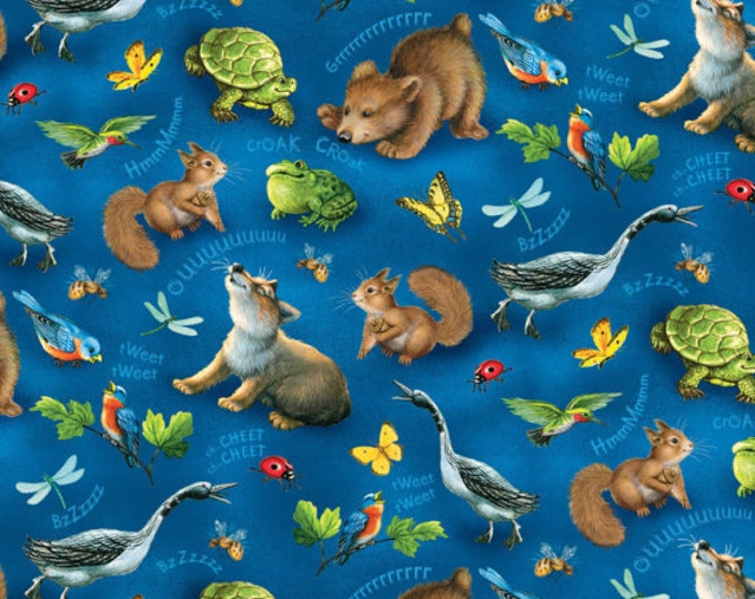 Children's Fabric, Quiet Bunny and and The Night Song Navy/Multi Tossed Animals by Lisa McCue