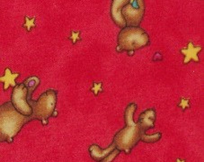 Buddy and The Star Babies Red Cotton Juvenile Print Fabric