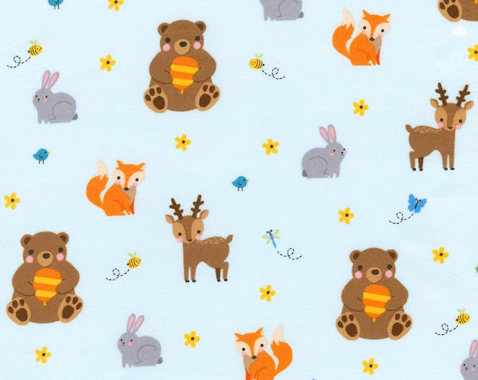 WOODLAND HIDEAWAY, Children's Cotton Flannel by Moira Hershey for Robert Kaufman 42 inches wide