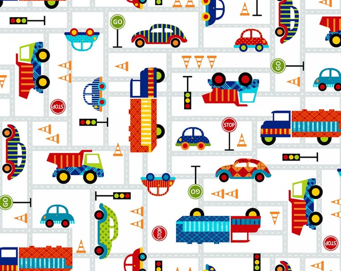 OFF WE GO, Children's Cotton Fabric Multi Vehicles by Laura Stone for Studio E 44 Inches Wide