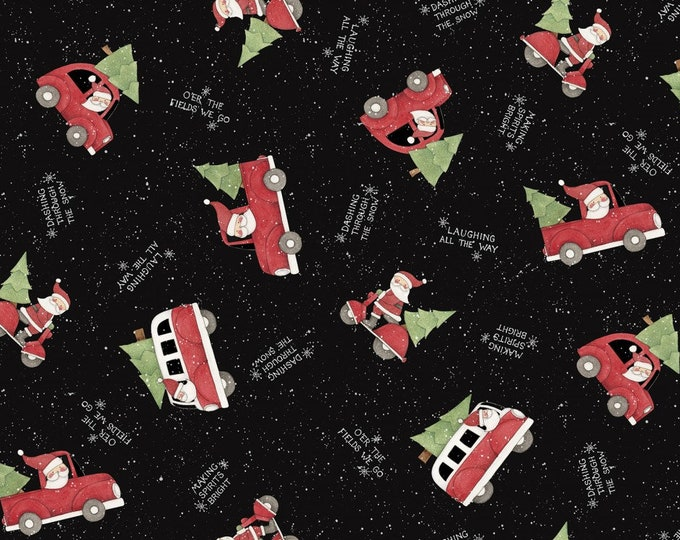HOLIDAY SANTA Making Spirits Bright Cotton Fabric by Springs Creative