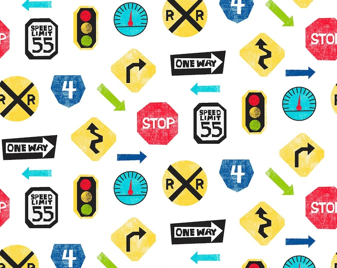 TRAVEL CHILDREN'S FABRIC, Multi Tossed Road Signs Cotton Fabric 44-45 inches wide by Fabric Editions