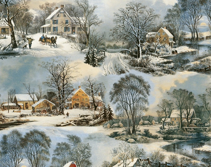 HOLIDAY WINTER FABRIC, On Frozen Pond Cotton Fabric 44 inches wide by Whistler Studio for Windham Fabrics