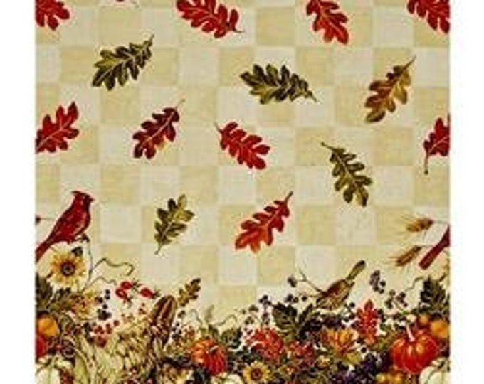 "BOUNTIFUL HARVEST FABRIC,  56"" Wide Double Border Multi Metallic Fabric by Fabri-Quilt"