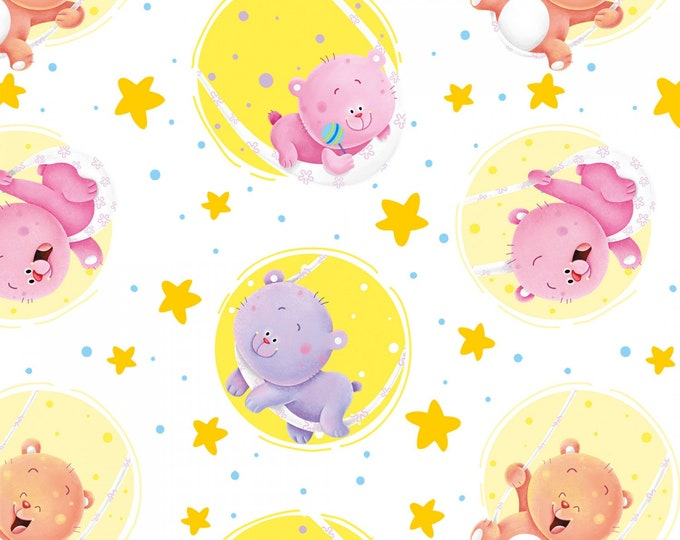 WISH UPON STAR, Multi Stars Tossed Cotton Flannel Fabric by Nidhi Wadhwa for Henry Glass