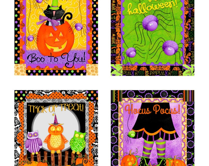 HOCUS POCUS HALLOWEEN, Cotton Panel by Deb Grogan 44 x 22 Inches