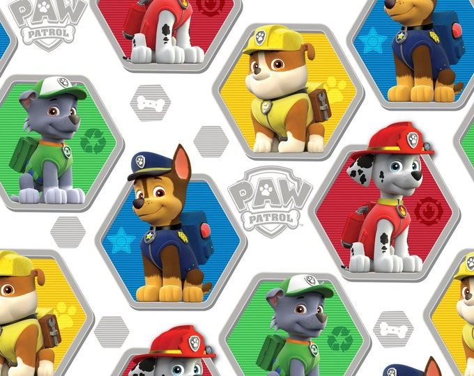 PAW PATROL FABRIC, Children's Cotton Fabric White Multi Hexagon Badges