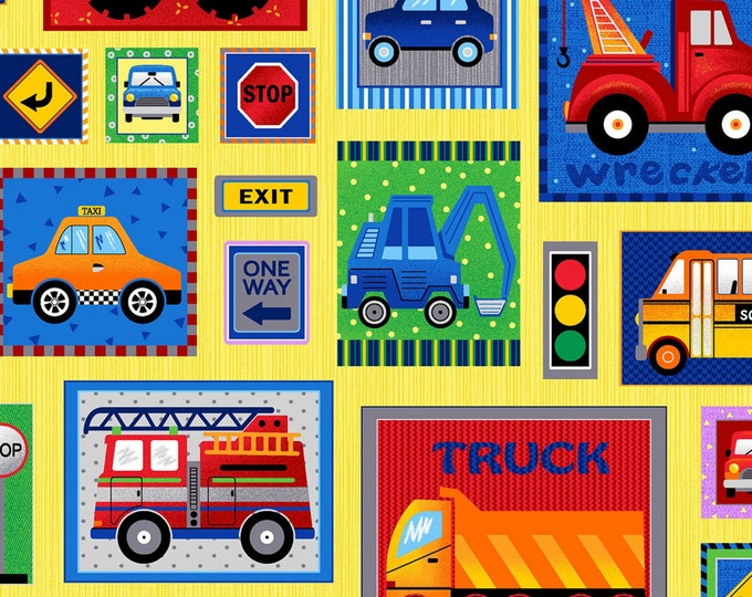 TRUCK STOP CHILDREN'S, Cotton Fabric 44 Inches Wide by FabriQuilt